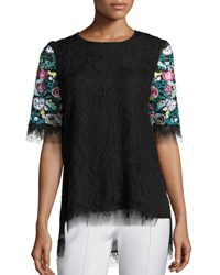Adam By Adam Lippes Floral Embroidered Lace T Shirt Black Multicolor