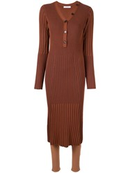 Loveless Slim Fit Ribbed Midi Dress Brown