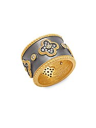 Freida Rothman Classic Cz And 14K Gold Plated Clover Cigar Ring