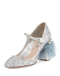 Miu Miu Feather Embellished Glitter Mary Jane Pump Silver Argento
