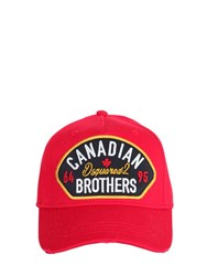 Dsquared Canadian Brothers Patch Baseball Hat Red