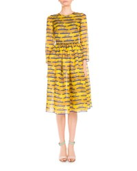 Mary Katrantzou 3 4 Sleeve Striped Lion Print Dress Yellow Blue