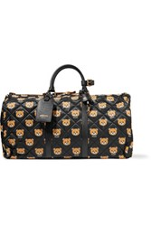 Moschino Leather Trimmed Quilted Printed Shell Duffle Bag Black