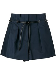 3.1 Phillip Lim High Waisted Tie Shorts Blue