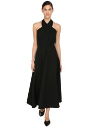 Jil Sander Crossed Grain De Poudre Midi Dress Black