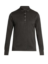 Ermenegildo Zegna Long Sleeved Wool And Silk Blend Polo Shirt Dark Grey