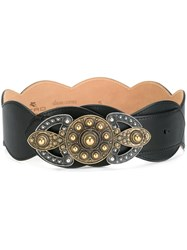 Etro Embellished Scalloped Belt Black