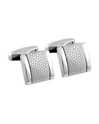 Ermenegildo Zegna Lightning D Shaped Cuff Links Silver