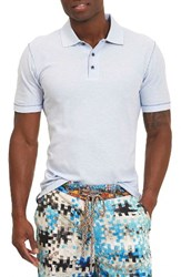 Robert Graham Men's Messenger Pique Polo Heather Light Blue