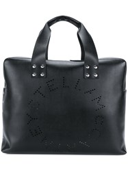 Stella Mccartney Perforated Logo Shoulder Bag Black