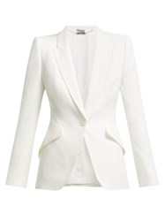 Alexander Mcqueen Single Breasted Crepe Blazer Ivory