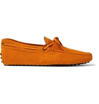Tod's Gommino Suede Driving Shoes Orange