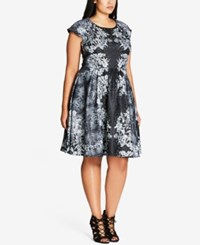 City Chic Trendy Plus Size Brocade Fit And Flare Dress Ivory