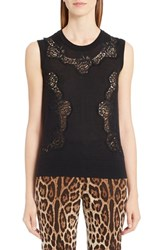 Dolce And Gabbana Women's Lace Inset Cashmere Blend Sweater