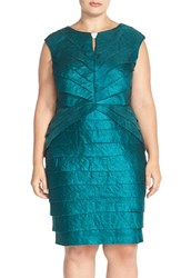 Plus Size Women's London Times Cap Sleeve Keyhole Tiered Sheath Dress Emerald