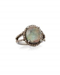 Bavna Labradorite And Diamond Cocktail Ring Black