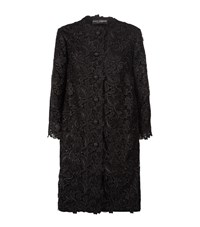Dolce And Gabbana Floral Lace Detail Coat Female Black