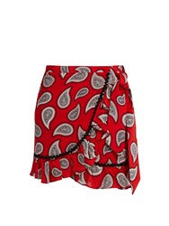 Dodo Bar Or Milo Paisley Print Mini Wrap Skirt Red Print
