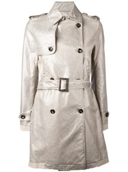 Golden Goose Deluxe Brand Double Breasted Trench Coat Metallic