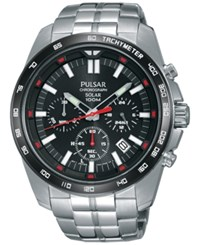 Pulsar Men's Solar Chronograph Stainless Steel Bracelet Watch 45Mm Pz5005 Silver