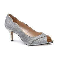Paradox London Pink Carey Glitter Mid Heel Peep Toe Shoes Platinum