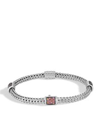 John Hardy Classic Chain Silver Extra Small Four Station Bracelet With Garnet