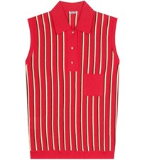 Miu Miu Striped Sleeveless Polo Shirt Red