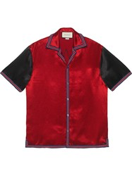 Gucci Acetate Bowling Shirt With Gg Star Red
