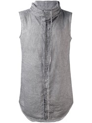 Unconditional Sleeveless Funnel Neck Shirt Men Cotton L Grey
