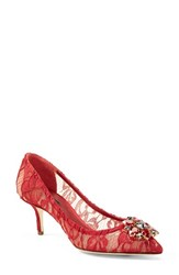 Women's Dolce And Gabbana Pointy Toe Pump Red Fabric