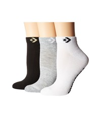 Converse 3 Pack Foundational Lurex Star Chevron Made For Chuck High Light Grey White Black Low Cut Socks Shoes