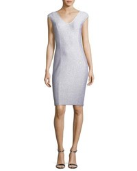St. John Ripple Texture Sequined Knit Cocktail Dress Silver