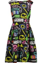 Moschino Pleated Printed Cotton Blend Dress Multi