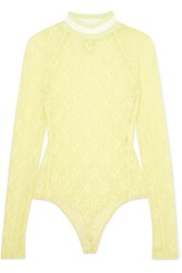 Alexander Wang T By Stretch Lace Thong Bodysuit Chartreuse