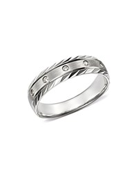 Bloomingdale's Diamond Double Bevel Edge Band In 14K White Gold 0.10 Ct. T.W. 100 Exclusive