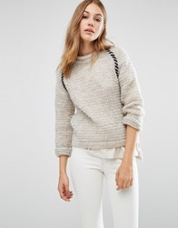 People Tree Textured Hand Knit Crew Neck Boyfriend Jumper Light Grey Melange