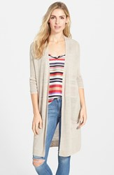 Women's Halogen Long Linen Blend Cardigan Tan Cobblestone