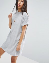 Asos Ultimate T Shirt Dress With Rolled Sleeves Grey Marl