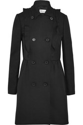 Red Valentino Redvalentino Ruffled Cotton Twill Coat Black