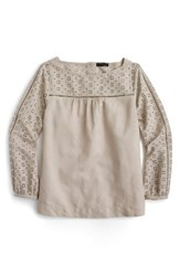 J.Crew Women's Cotton Linen And Cotton Eyelet Top Flax