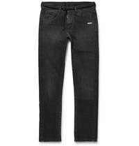 Off White Slim Fit Denim Jeans Dark Gray