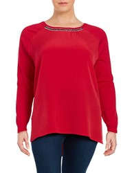 Calvin Klein Plus Crewneck Embellished Mixed Media Sweater Rouge
