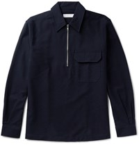 Several Cotton And Wool Blend Shirt Jacket Navy