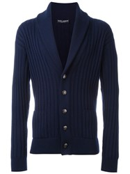 Dolce And Gabbana Ribbed Knit Cardigan Blue