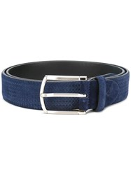 Canali Braided Detail Belt Blue