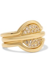 Elizabeth And James Sabi Set Of Three Gold Tone Crystal Rings 7