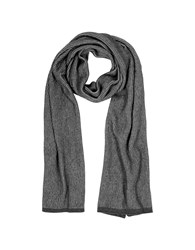 Mila Schon Long Scarves Gray Black Stripe Wool Blend Long Scarf