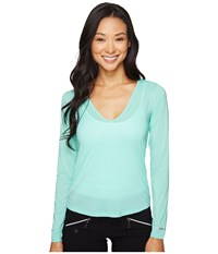 Jamie Sadock Sunsence Lightweight Long Sleeve Layering Under Garment Top With Uvp 30 Aquadisiac Women's Long Sleeve Pullover Blue