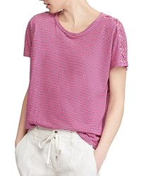 Ralph Lauren Striped Lace Up Tee Pink