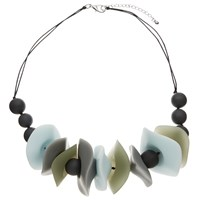 John Lewis Asymmetric Resin Bead Statement Necklace Turquoise Grey